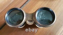 Antique French Paris Cobalt Blue Gold Star Hand Painted Enamel Opera Glasses