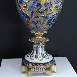 Antique French Sevres Style Bronze Mounted Porcelain Lamp Cobalt Heavy gold