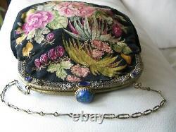 Antique Gold Cobalt Blue Jewel Frame Black Floral Rose MICRO Petit Point Purse