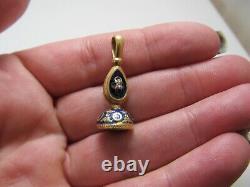 Antique Lapis Cobalt Blue Enamel Fob Pendant 14k Yellow Gold Rose Cut Diamond