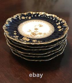 Antique Limoges France Elite Desert Plates Cobalt Blue and Gold Gilt