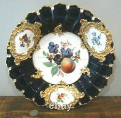 Antique MEISSEN Porcelain Hand Painted FRUIT Cobalt Blue Gold 11+ Plate Charger