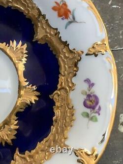 Antique Meissen Cobalt Blue & Gilt Gold Florals 5 Saucer Under Glaze Mark