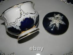 Antique Meissen Cobalt & Gold Tea / Coffee Set 8 Pc W / Tray
