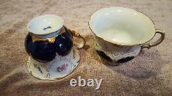 Antique Meissen Porcelain Cobalt and Gold Tea Set
