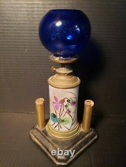 Antique Oil Kerosene Lamp Cigar Store Counter Lighter Blue Cobalt Globe Shade