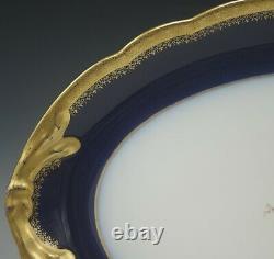 Antique Pouyat Limoges Cobalt Gold Encrusted Serving Platter
