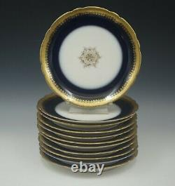 Antique Pouyat Limoges Cobalt Gold Encrusted Set Of 11 Plates