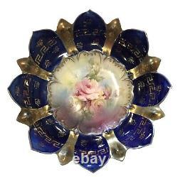 Antique R S Prussia Cobalt Blue Gold Greek Key Scalloped Edge Porcelain Bowl