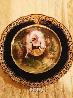 Antique Rare Set 12 Cobalt Blue & Gold Cabinet Portrait Plates Signed Picard