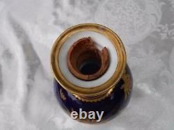 Antique Royal Crown Derby Decanter Covered Vase Urn Cobalt Gold flaws