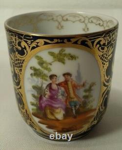 Antique Royal Vienna Portrait Demitasse Tea Cup Elegant Cobalt Gold