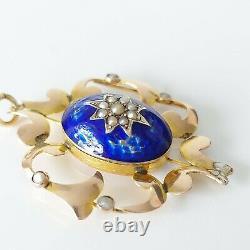 Antique Victorian 9ct Gold Seed Pearl & Cobalt Blue Enamel Floral Pendant 3.6g