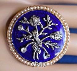 Antique Victorian Diamond Pearl Cobalt Blue Guilloche 14K Gold Enamel Brooch Pin