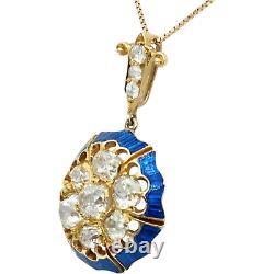 Antique Victorian Old Mine Cut Diamond Pendant in 18k Gold Cobalt Blue Enamel