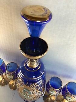 Antique Vintage Cobalt Blue Gold Hand Painted Liqueur Set Decanter 6 Cordials