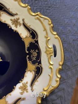 Antique Vintage Reichenbach Echt Cobalt Candy or Berry Dish. 22 K Gold Accents