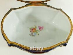 Antique/Vtg 8 PORTRAIT Cobalt Blue & Gold Porcelain Jewelry Casket Dresser Box