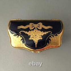 Antique Vtg Limoges Ormolu Cobalt Blue & Gold Porcelain Chest Jewelry Casket Box