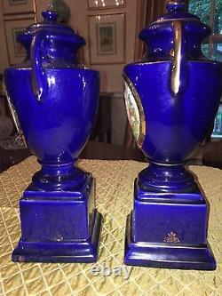 Antique cobalt blue and gold urn. Excellent condition. $250 single urn
