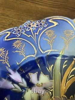 Antique rs prussia Point & Clover cobalt blue cake plate gold victorian Mint Wow