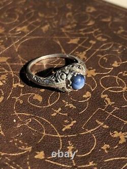 Antique tested natural dark cobalt Blue Star Sapphire 14k White Gold 1930s ring