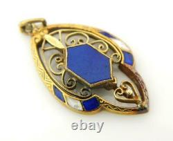 Art Nouveau 14K/ 585 Yellow Gold Cobalt Blue & White Enamel Blue Stone Pendant
