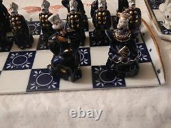 Authentic Vintage Russian Porcelain Hand Made Blue Cobalt Chess Set Gold Trim