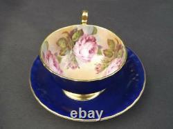 Aynsley Cabbage Rose Cobalt Blue Gold Trim Cup & Saucer English Bone China EXC