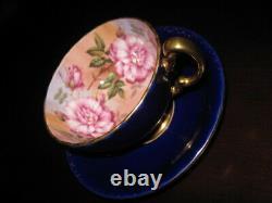 Aynsley Cabbage Roses Teacup & Saucer Pink Roses Cobalt Blue & Gold EXCELLENT