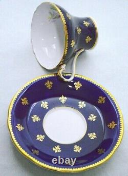 Aynsley England Corset Gold Decorated Pink Rose Cobalt Blue Cup and Saucer 1022