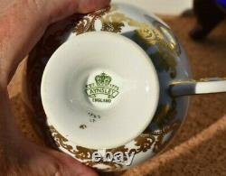 Aynsley England Tea Cup And Saucer, Cobalt Blue/gold Tined, Flowers Pre-owned