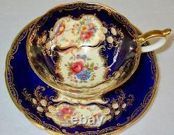 Aynsley Exquisite ARISTOCRAT Cobalt Blue Cup & Saucer 1940s