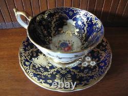 Aynsley ROYALTY Tea Cup & Saucer Gold Encrusted Cobalt Blue (C)