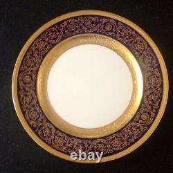 BERNARDAUD Limoges gold encrusted dinner plate VERGENNES-COBALT list $965