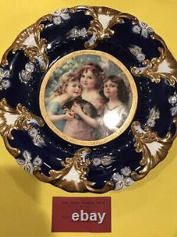 Beautiful Antique Royal Vienna Cobalt & Gold Plate With Portrait