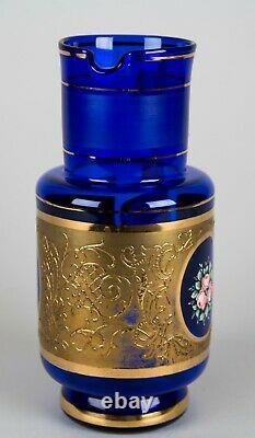 Bohemian Cobalt Blue Glass Pitcher & Tumbler Set Hand Painted Floral & Gold Trim