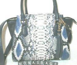 Brahmin Mini Priscilla Cobalt Blue Ballington Exotic Crossbody Satchel Bag $325