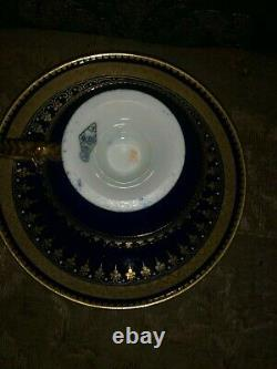 Brown Westhead & Moore Rope Handle Jewel Teacup Saucer Cobalt Blue And Gold 1860