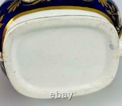 C1820 Antique Coalport Teapot Cobalt Blue English Porcelain19thcGold Gilt