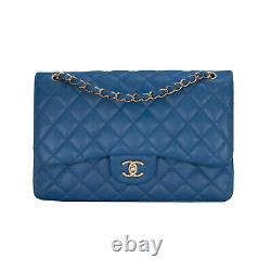 CHANEL Cobalt Blue Jumbo Double Flap Lambskin Leather Bag, Gold Tone Hardware