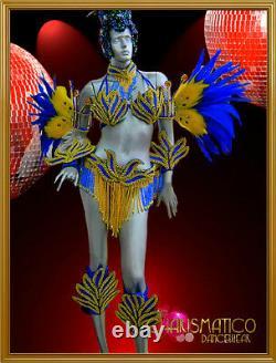 CHARISMATICO Cobalt blue & Golden Brazilian Rio Carnival samba-style costume set