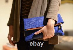 Clare V, Clare Vivier Fold-Over Clutch Bag, Cobalt, $180 EUC