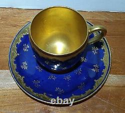 Coalport AD-1750 Demitasse Cup & Saucer England-Cobalt Blue Gold Embossed Gilt