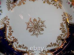 Coalport Panel Cobalt X1002 Gold Center- Lunch Plate 9 1/4- Rare! Excellent