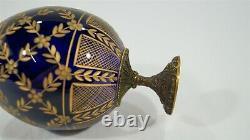 Cobalt Blue & Gold Cut Crystal Fabergé Imperial Easter Egg on Pedestal