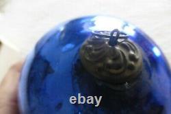 Cobalt Blue & Gold Kugel Glass German Christmas Ornaments