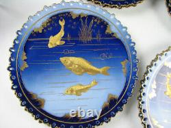 Cobalt Blue & Gold Set of 8 Pirkenhammer Porcelain Plates with Fish Antique