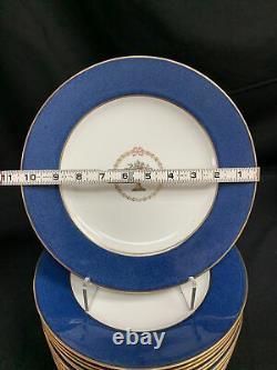 Copeland Spode Cobalt Blue Band Gold Trim Dinner Plates Set 12 Pcs 10.5