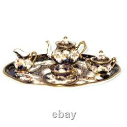 Crown Staffordshire, England, 2765 Cobalt Blue & Gold 8 Pcs. Miniature Tea Set